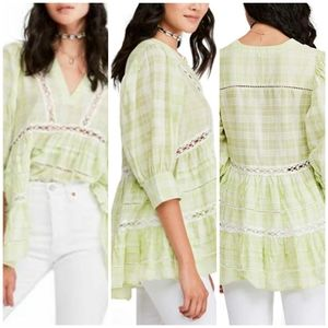 NWT Free People Time Out Eyelet 3/4 Sleeve Tunic